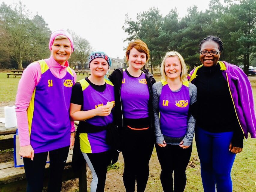 Susan, Kathleen, April, Lucie and Modupe braved the soggy and slippy Rushmere course