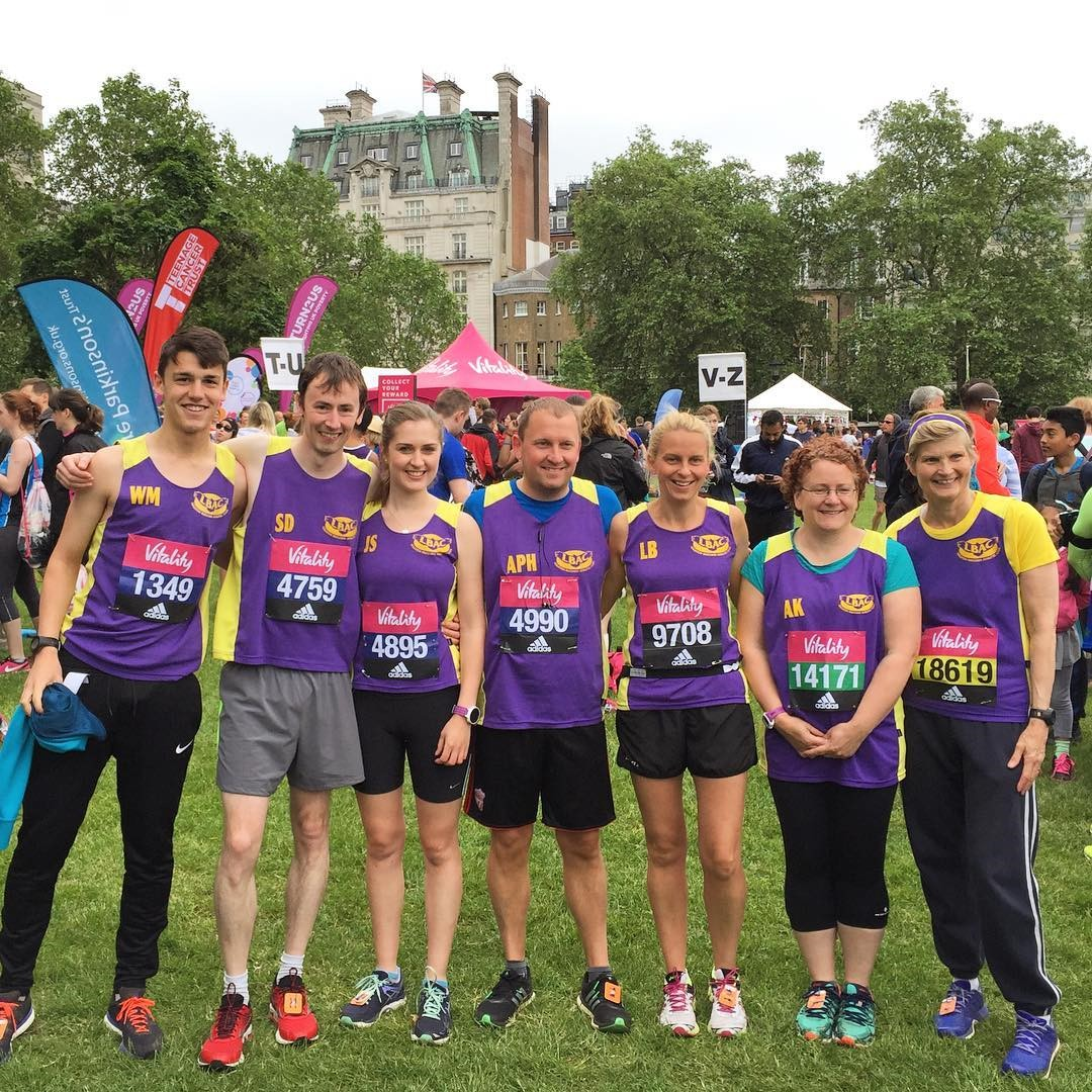 Charlie, Sam, Jo, Andrew, Lisa, Alex and Susan prepare for the race in Green Park